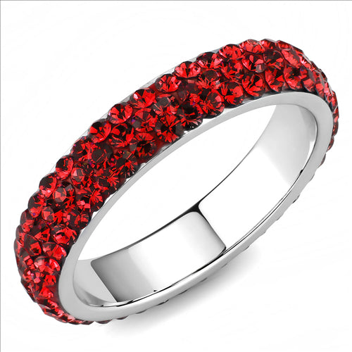 Crystal Eternity Band - Red - January Birthstone  July Birthstone - Most Popular