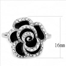 Load image into Gallery viewer, Black and Crystal Medium Flower- Stainless Steel Ring - Most Popular