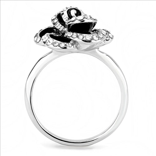 Black and Crystal Medium Flower- Stainless Steel Ring - Most Popular -Travel Jewlery