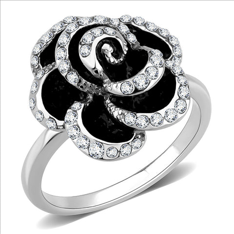 Black and Crystal Medium Flower- Stainless Steel Ring