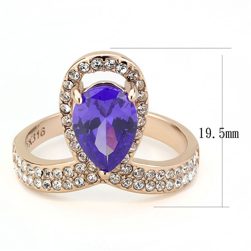 Amethyst Color - Rose Gold Setting - February Birthstone