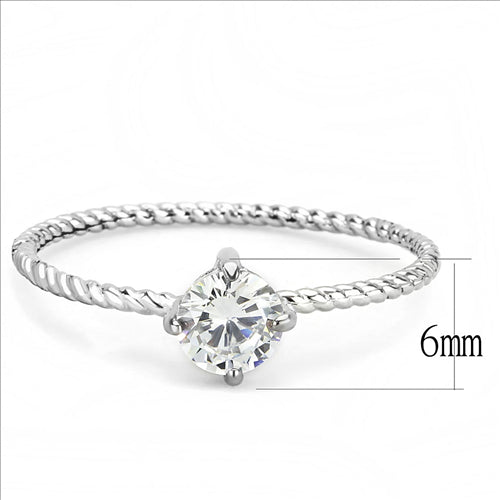 Stainless Steel Ring No Plating Women AAA Grade CZ Clear Minimalistic Newest