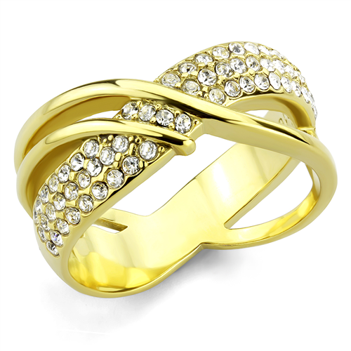 IP Gold Crossover Double Band with Pave Crystals