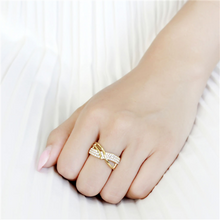 Load image into Gallery viewer, IP Gold Crossover Double Band with Pave Crystals