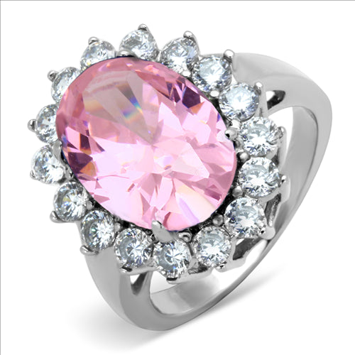 Pink Princess- Oval Cut Stainless Steel Ring October Birthstone