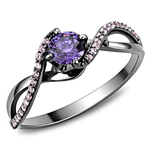 February Birthstone - Sterling Silver - Amethyst Round-cut Brilliant Swirl Band with Pink Ice Crystals Gun Metal Steel Newest