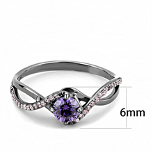 Load image into Gallery viewer, February Birthstone - Sterling Silver - Amethyst Round-cut Brilliant Swirl Band with Pink Ice Crystals Gun Metal Steel Newest
