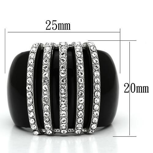 Statement Ring for Sure! Black ION Plating 5 vertical Rows of Round Cut Crystals