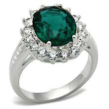 Load image into Gallery viewer, Emerald Crystal - Large Oval Cut - Halo in Round - Cut Crystals - Lady Di Style May Birthstone - Newest
