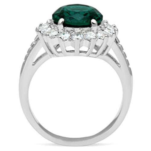 Emerald Crystal - Large Oval Cut - Halo in Round - Cut Crystals - Lady Di Style May Birthstone - Newest