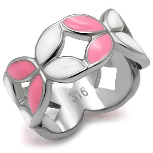Pink and White Enamel Band Stainless Steel October Birthstone