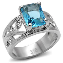 Load image into Gallery viewer, Emerald Cut Sea Blue and Clear Crystal Ring March Birthstone