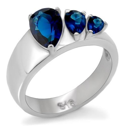 Sapphire Pear Shape Crystal Stainless Steel Ring