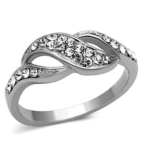 Stainless Steel Ring High polished (no plating) Women Top Grade Crystal Clear Crossover Band Newest Minimalistic