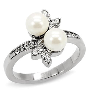 Double White Synthetic Pearl Stainless Steel New Ring