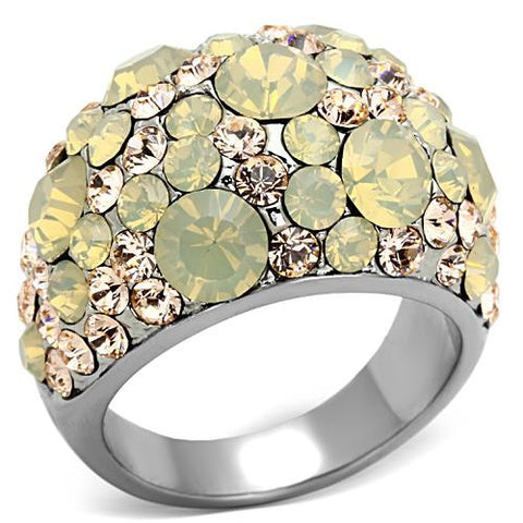 Crystal Cocktail Designer Replica Ring with Champagne Pave Crystals - Newest