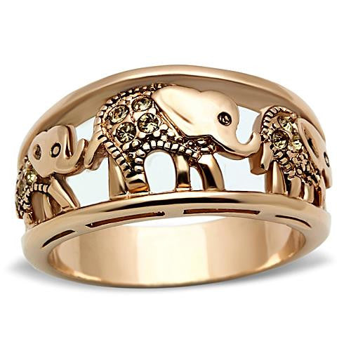 Rose Gold IP Stainless Elephant Ring Champagne Crystals November Birthstone