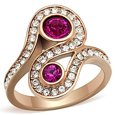 Rose Gold Stainless Fuchsia Ring
