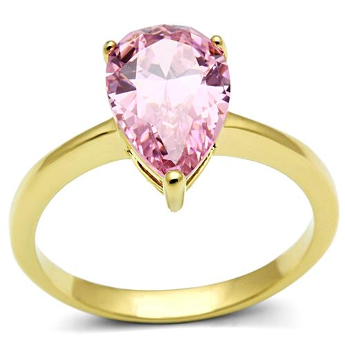 Pear Pink Ice Crystal IP Gold Ring - October Birthstone - Travel Jewelry