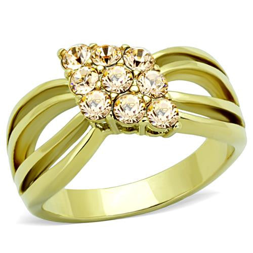 Gold IP Champagne Crystal Ring  November Birthstone