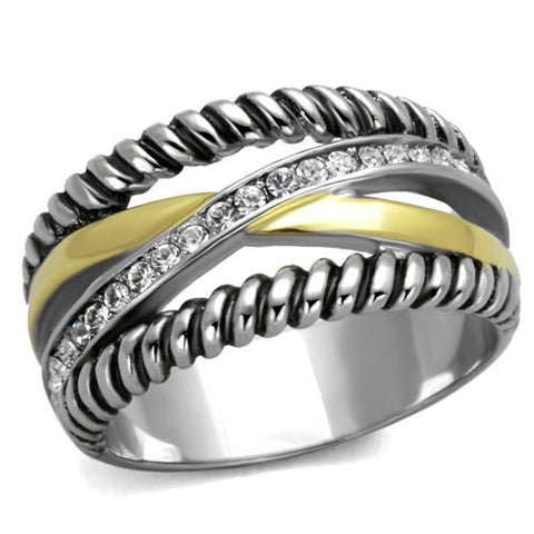 Stainless Steel Two Tone Rope Ring