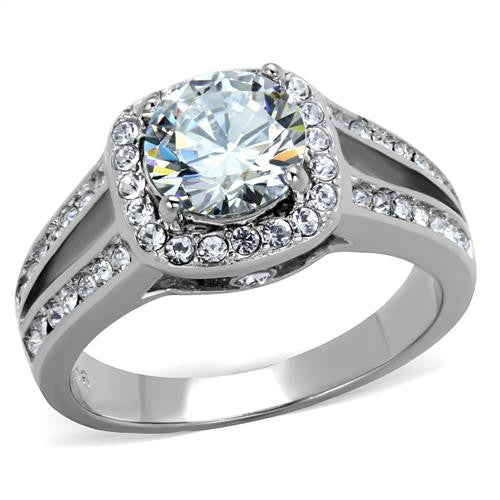 Brilliant  Center Stone with pave Halo Stainless Engagement Ring - Most Popular April Birthstone