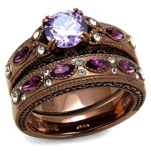 Stainless Coffee Amethyst Ring Set
