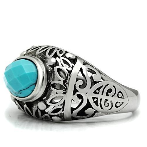 Lab Created Turquoise Stainless Steel Men's Ring - Newest
