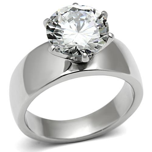 Round Cut Crystal in a Six Prong Setting Newest April Birthstone Solitaire
