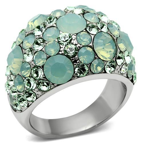 Crystal Cocktail Designer Replica Ring with Light Green Pave Crystals - Newest