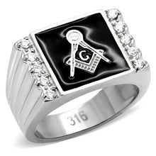 Load image into Gallery viewer, Men's Masonic Signet Ring with Accenting Clear Crystals Newest