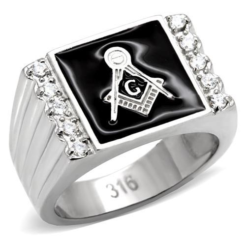 Men's Masonic Signet Ring with Accenting Clear Crystals Newest