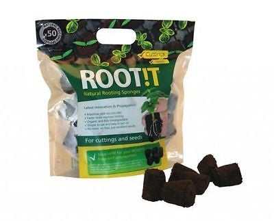 ROOTIT 50X NATURAL ROOTING SPONGES, PROPAGATION PLUGS HYDROPONICS,CUTTINGS SEEDS