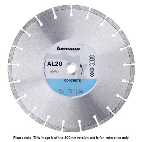 AL20-400/25 - Alpha Range Diamond Blade for Concrete & General Purpose use