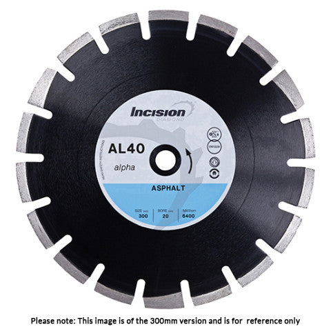 AL40 - Alpha Range Asphalt & Abrasive Materials Diamond Cutting Blade