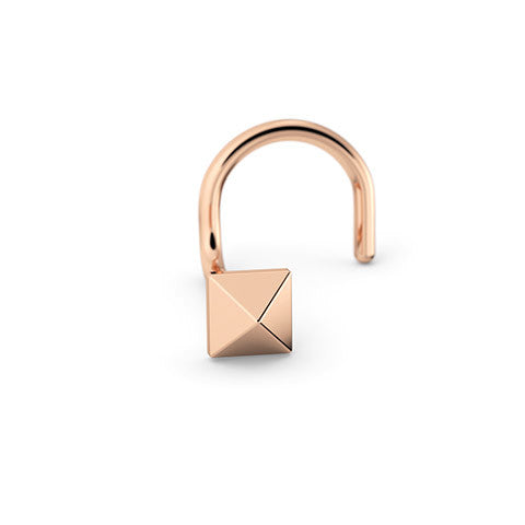 14k Rose Gold Pyramid Nose Stud