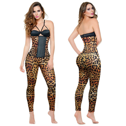 Ann Michell Fajas Tee 2020-2 Leopard Legging Support Butt Lifter Shaper