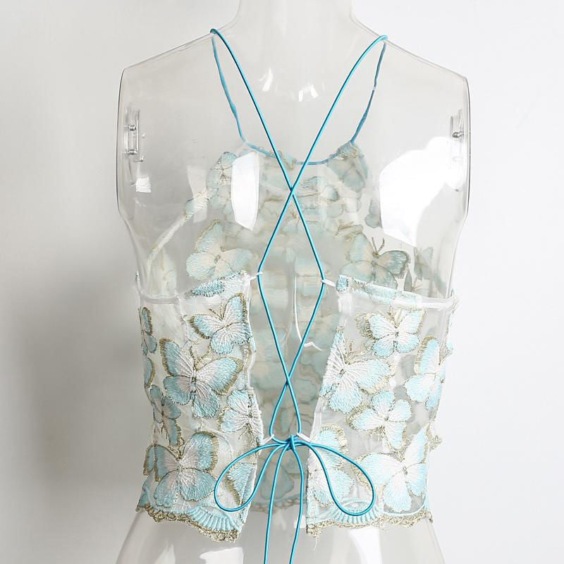 Butterfly Sheer Lace up Back Halter Top