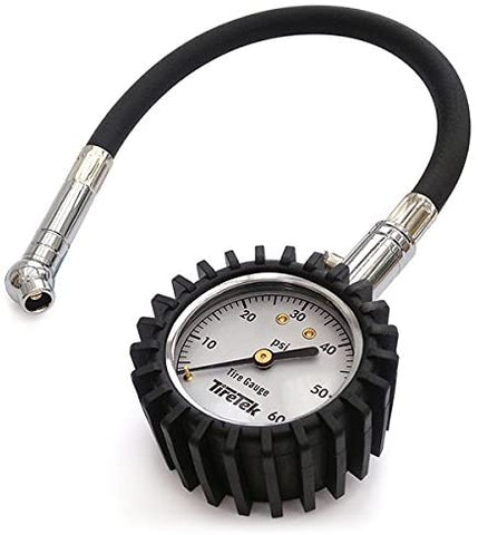TireTek Tire Gauge 0-60 PSI - Tire Pressure Gauge for Truck, Car, Motorcycle, ATV, and SUV with Flexible Air Chuck and ANSI B40.1 Accuracy