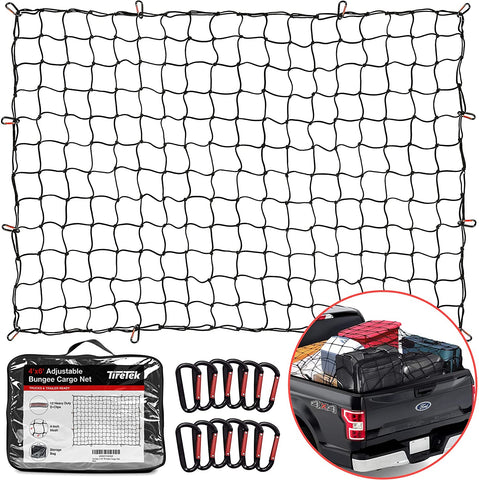 "TireTek Cargo Net for Pickup Truck Bed- 4' x 6' Stretches to 8' x 12'- Heavy Duty Small 4""x4"" Latex Bungee Net Mesh with 12 Metal Carabiners - Compatible with Ford, Dodge RAM, Chevy, Toyota"