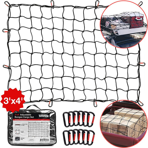 TireTek Roof Rack Cargo Net for Cars & SUVs - 3' x 4' Stretches to 6' x 8'- Small Cargo Net for Pickup Truck Bed w/ 12 Metal Carabiners, Compatible with Nissan Frontier, Toyota Tacoma & Chevy Colorado