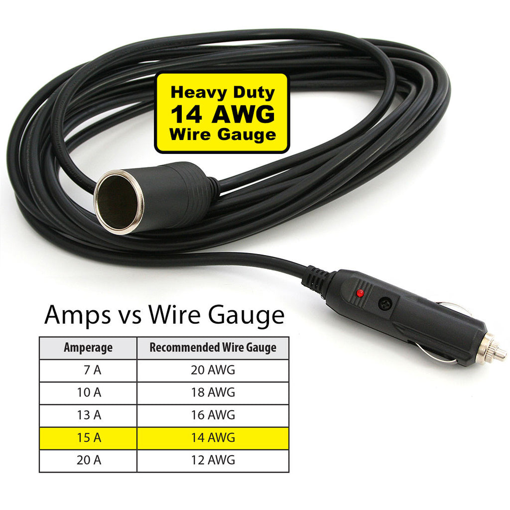 Premium 12V Car Cigarette Lighter Extension Cord - 15ft product image