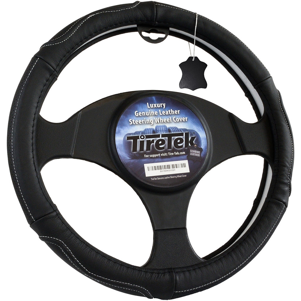 "Genuine Leather Steering Wheel Cover - 15"" product image"