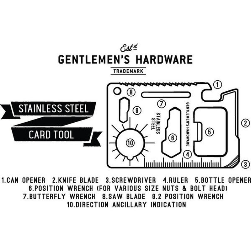Gentlemen's Hardware Pocket Sized Stainless Steel Credit Card Tool - Burrows and Hare