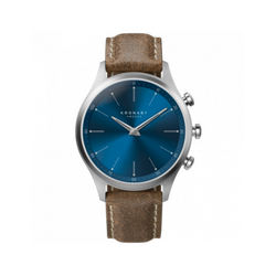 Kronaby Sekel 41 Steel - Blue, Truffle Suede Leather - Burrows and Hare