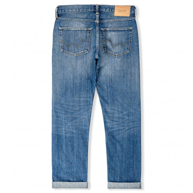 Edwin ED-55 Regular Tapered Red Listed Selvage Denim - Blue Satomi Wash 14oz - Burrows and Hare