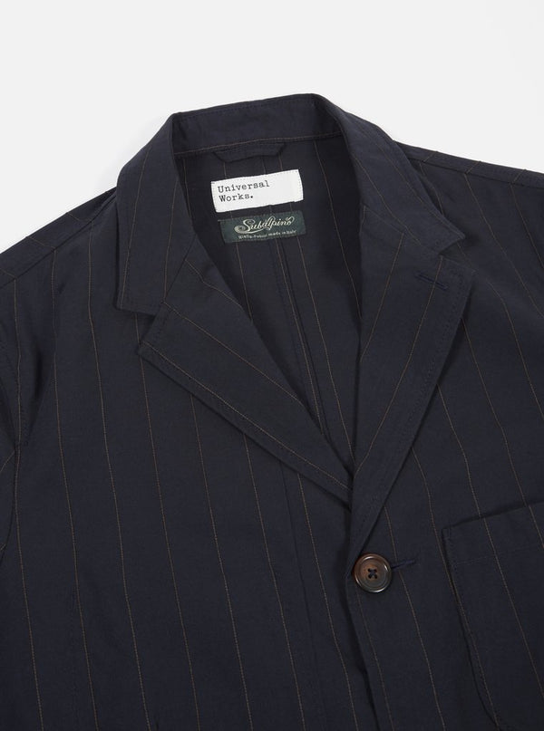 Universal Works Raised Pinstripe Suit Jacket Navy - Burrows and Hare