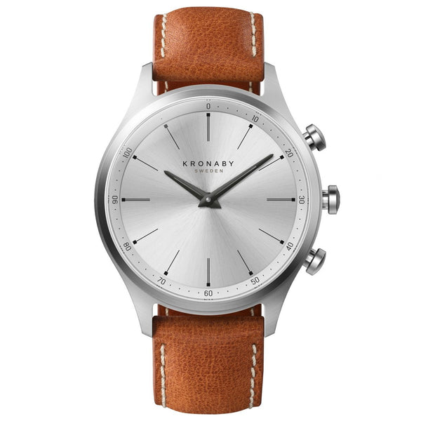 Kronaby Sekel 41 Steel Hybrid Smartwatch - Brown Leather - Burrows and Hare