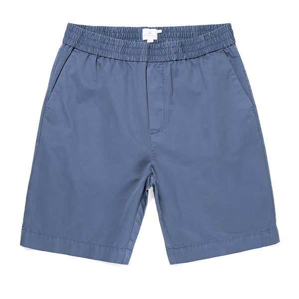 Sunspel Elasticated Drawstring Short - Slate Blue - Burrows and Hare