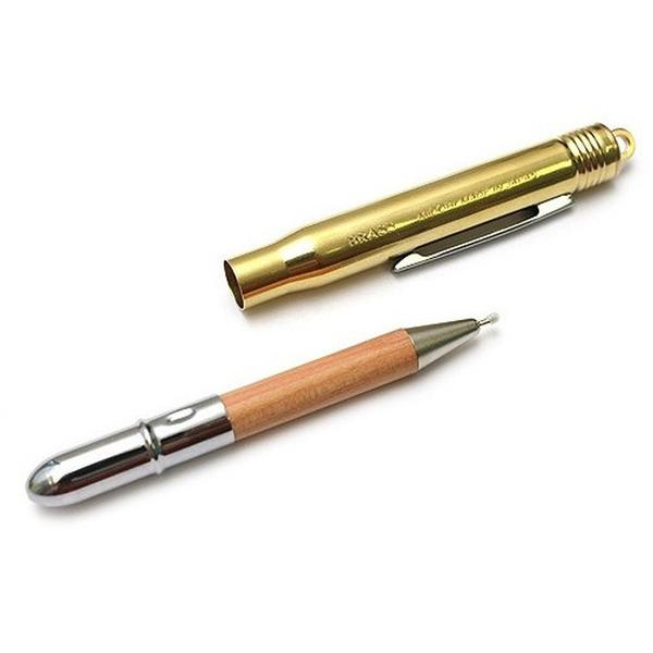 TRAVELLER'S COMPANY BRASS AND CHROMED STEEL FINE TIPPED BALLPOINT BULLET PEN
